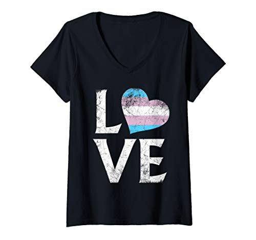 Womens Transgender Pride Flag Stacked Heart Love V-Neck T-Shirt