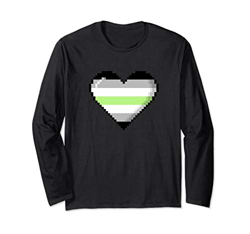 Agender Pride 8-Bit Pixel Heart Long Sleeve T-Shirt