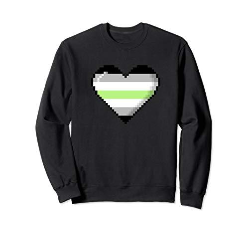 Agender Pride 8-Bit Pixel Heart Sweatshirt