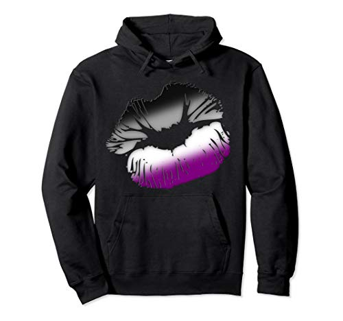 Asexual Pride Big Kissing Lips Pullover Hoodie
