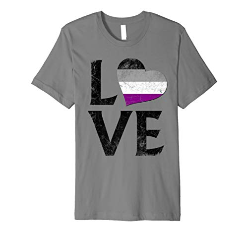 Asexual Pride Flag Heart Stacked Love Premium T-Shirt