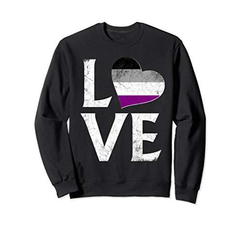 Asexual Pride Flag Heart Stacked Love Sweatshirt