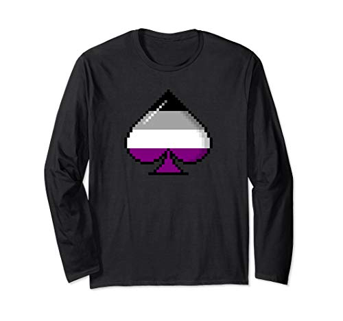 Asexual Pride Flag Pixel 8-Bit Ace Long Sleeve T-Shirt
