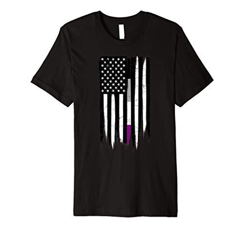 Asexual Pride Thin Line American Flag Premium T-Shirt