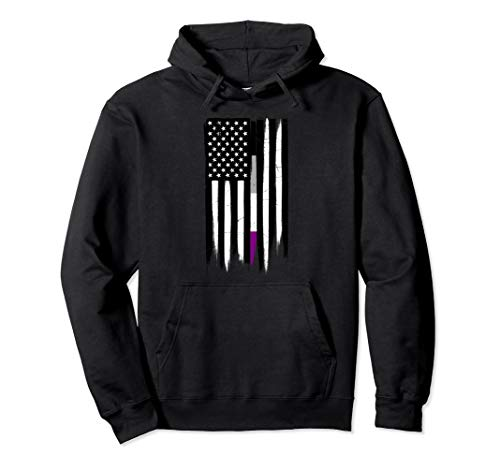 Asexual Pride Thin Line American Flag Pullover Hoodie