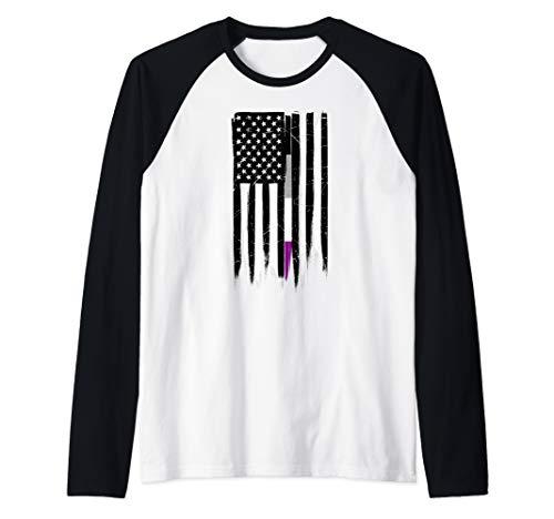 Asexual Pride Thin Line American Flag Raglan Baseball Tee