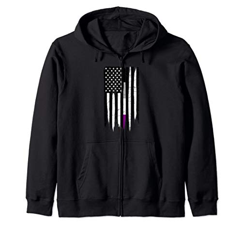 Asexual Pride Thin Line American Flag Zip Hoodie