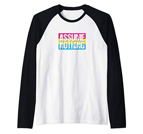 Assume Nothing Pansexual Pride Flag Raglan Baseball Tee