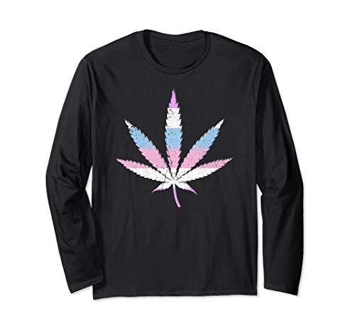 Bigender Pride Flag Marijuana Pot Leaf Long Sleeve T-Shirt