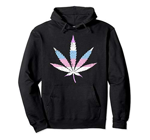 Bigender Pride Flag Marijuana Pot Leaf Pullover Hoodie