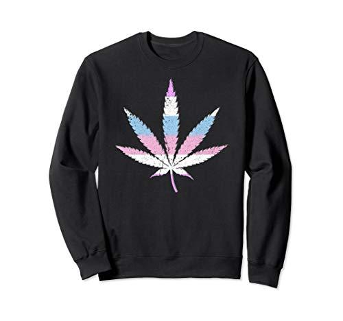 Bigender Pride Flag Marijuana Pot Leaf Sweatshirt