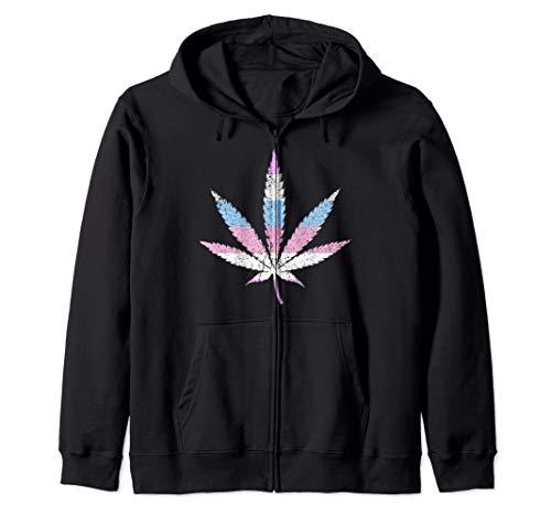 Bigender Pride Flag Marijuana Pot Leaf Zip Hoodie