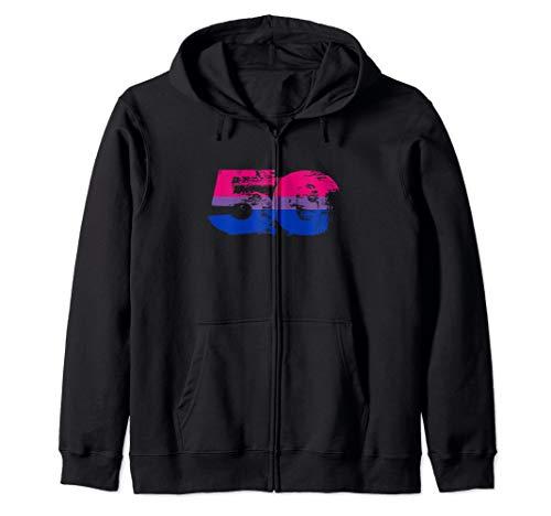 Bisexual Grunge 50 Pride Flag Zip Hoodie
