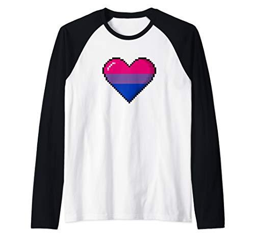 Bisexual Pride 8-Bit Pixel Heart Raglan Baseball Tee