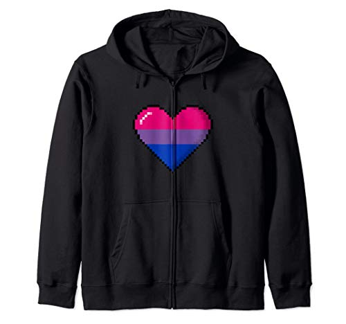 Bisexual Pride 8-Bit Pixel Heart Zip Hoodie