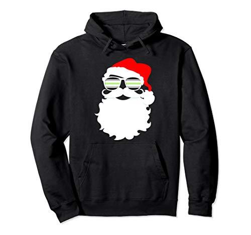 Cool Santa Claus Agender Pride Flag Sunglasses Pullover Hoodie