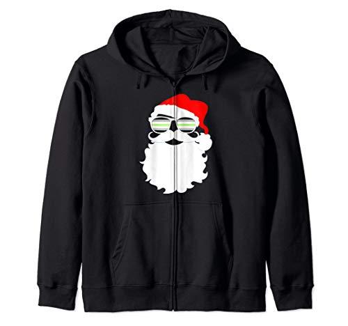 Cool Santa Claus Agender Pride Flag Sunglasses Zip Hoodie
