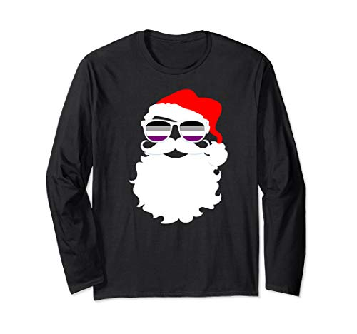 Cool Santa Claus Asexual Pride Flag Sunglasses Long Sleeve T-Shirt
