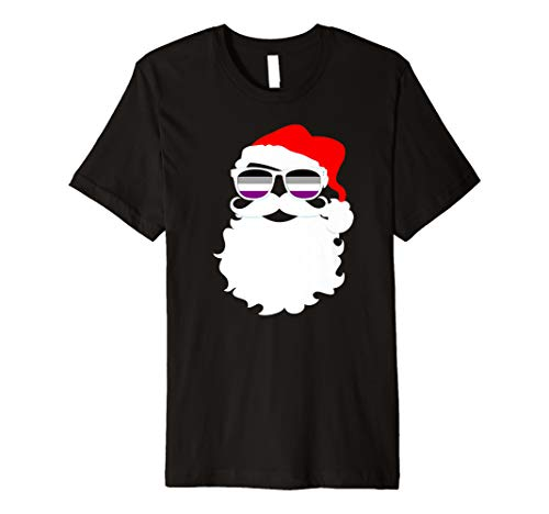 Cool Santa Claus Asexual Pride Flag Sunglasses Premium T-Shirt
