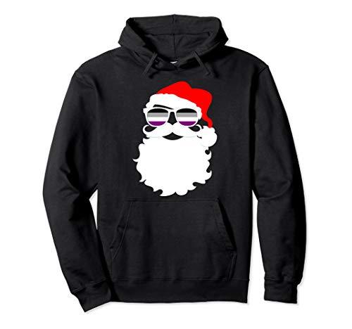 Cool Santa Claus Asexual Pride Flag Sunglasses Pullover Hoodie