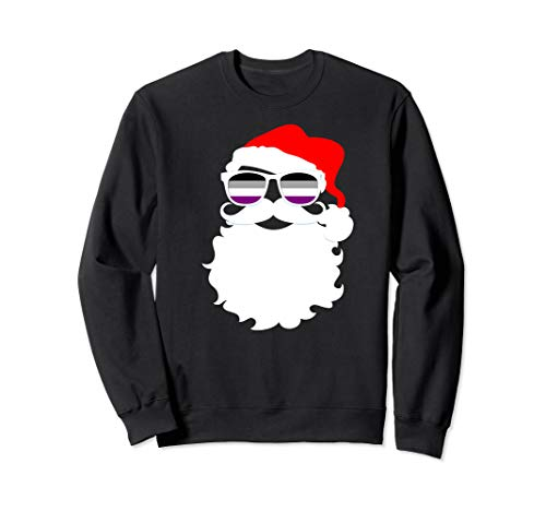 Cool Santa Claus Asexual Pride Flag Sunglasses Sweatshirt