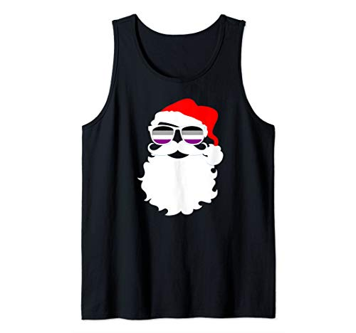 Cool Santa Claus Asexual Pride Flag Sunglasses Tank Top
