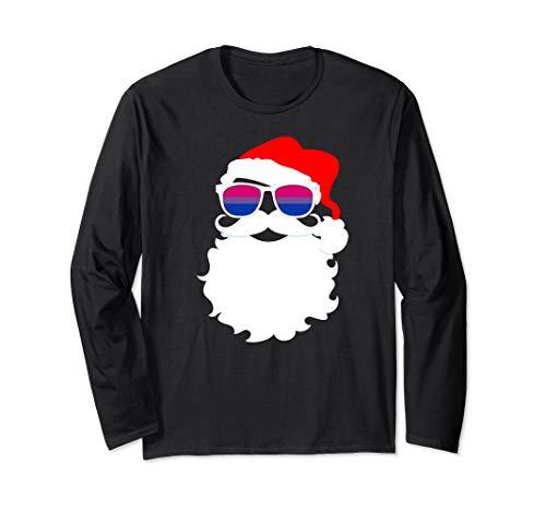 Cool Santa Claus Bisexual Pride Flag Sunglasses Long Sleeve T-Shirt