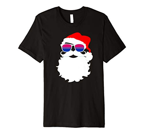 Cool Santa Claus Bisexual Pride Flag Sunglasses Premium T-Shirt
