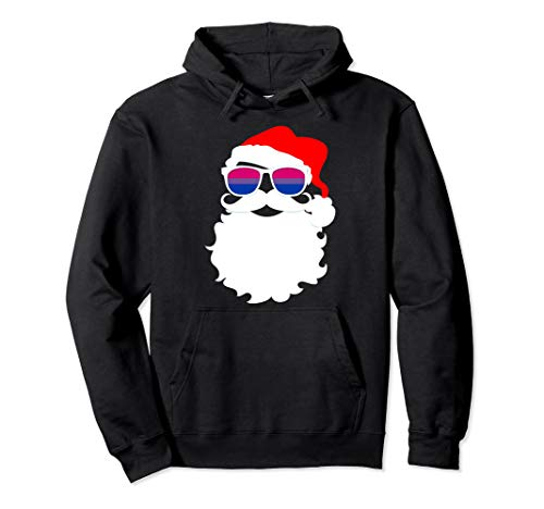 Cool Santa Claus Bisexual Pride Flag Sunglasses Pullover Hoodie