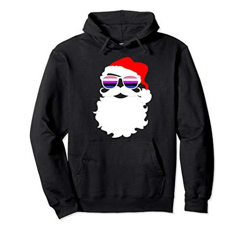 Cool Santa Claus Genderfluid Pride Flag Sunglasses Pullover Hoodie