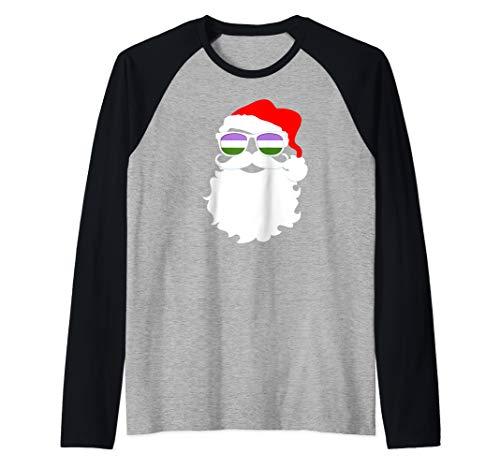 Cool Santa Claus Genderqueer Pride Flag Sunglasses Raglan Baseball Tee