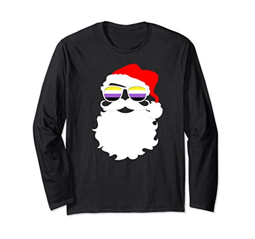 Cool Santa Claus Nonbinary Pride Flag Sunglasses Long Sleeve T-Shirt