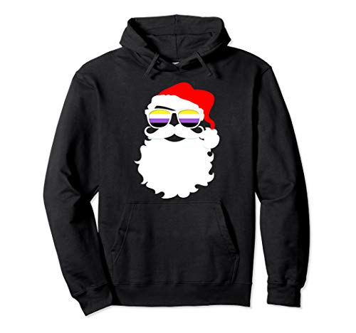 Cool Santa Claus Nonbinary Pride Flag Sunglasses Pullover Hoodie
