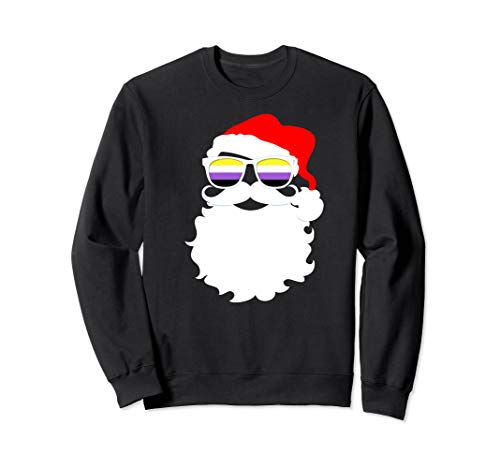 Cool Santa Claus Nonbinary Pride Flag Sunglasses Sweatshirt