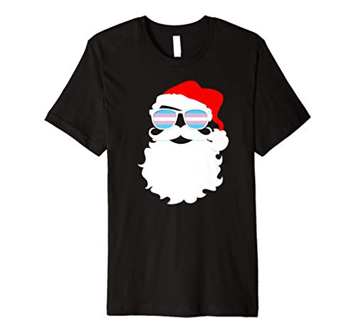 Cool Santa Claus Transgender Pride Flag Sunglasses Premium T-Shirt