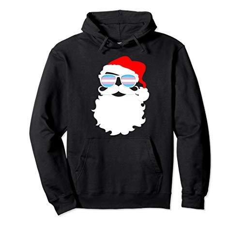 Cool Santa Claus Transgender Pride Flag Sunglasses Pullover Hoodie