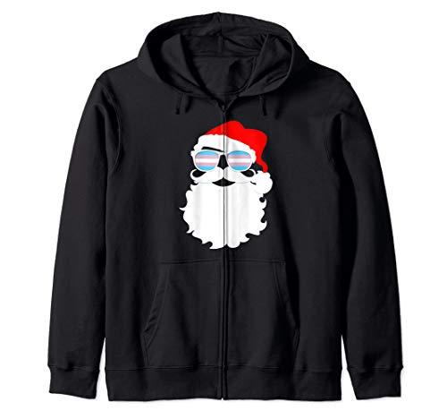 Cool Santa Claus Transgender Pride Flag Sunglasses Zip Hoodie