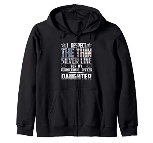 Daughter Thin Silver Line Correctional Officer Zip Hoodie