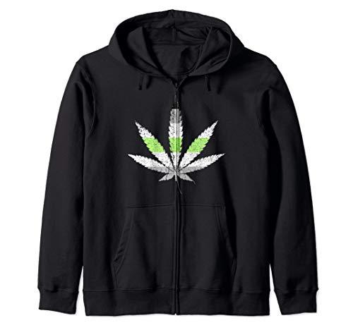 Distressed Agender Pride Flag Marijuana Pot Leaf Zip Hoodie