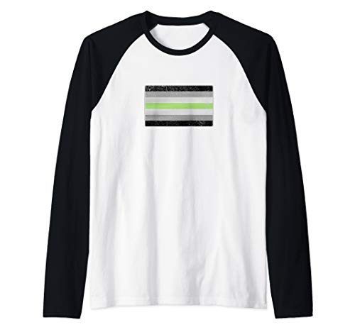Distressed Agender Pride Flag Raglan Baseball Tee