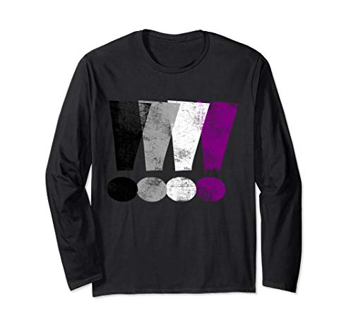 Distressed Asexual Pride Exclamation Points Long Sleeve T-Shirt