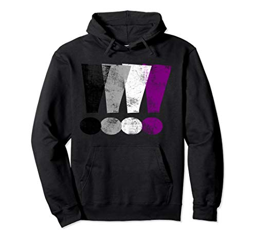 Distressed Asexual Pride Exclamation Points Pullover Hoodie