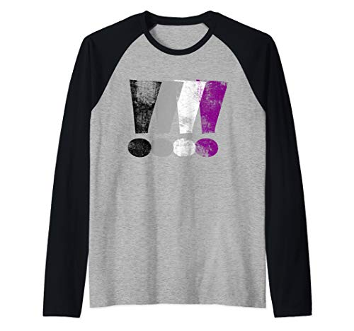 Distressed Asexual Pride Exclamation Points Raglan Baseball Tee
