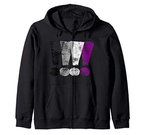Distressed Asexual Pride Exclamation Points Zip Hoodie