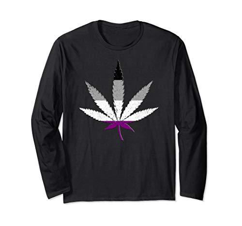 Distressed Asexual Pride Flag Marijuana Pot Leaf Long Sleeve T-Shirt