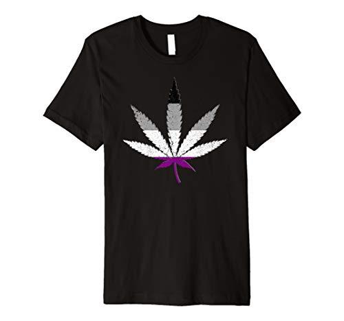 Distressed Asexual Pride Flag Marijuana Pot Leaf Premium T-Shirt