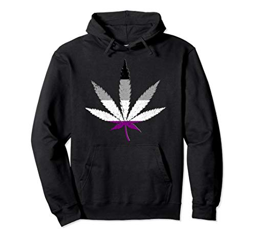 Distressed Asexual Pride Flag Marijuana Pot Leaf Pullover Hoodie