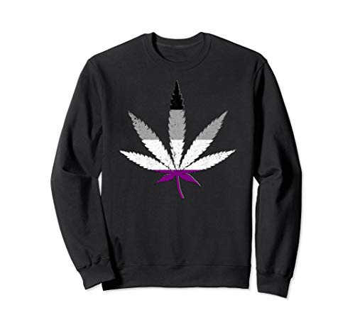 Distressed Asexual Pride Flag Marijuana Pot Leaf Sweatshirt