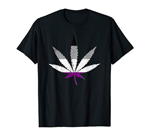 Distressed Asexual Pride Flag Marijuana Pot Leaf T-Shirt