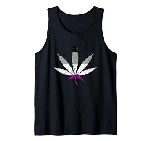 Distressed Asexual Pride Flag Marijuana Pot Leaf Tank Top